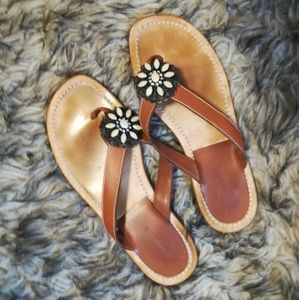 MANOLO BLAHNIK FLOWER THONGS